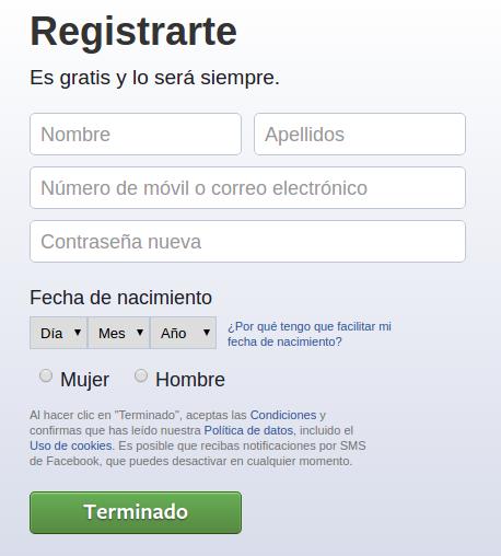 registro facebook